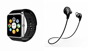 MIRZA Bluetooth GT08 Smart Wrist Watch & Bluetooth Headset for MICROMAX CANVAS MEGA 4G(Jogger Bluetooth Headset & Bluetooth GT08 Smart Watch Wrist Watch Phone with Camera & SIM Card Support Hot Fashion New Arrival Best Selling Premium Quality Lowest Price with Apps like Facebook, Whatsapp, Twitter, Sports, Health, Pedometer, Sedentary Remind & Sleep Monitoring, Better Display, Loud Speaker, Microphone, Touch Screen, Multi-Language, Compatible with Android iOS Mobile Tablet-Silver Color)