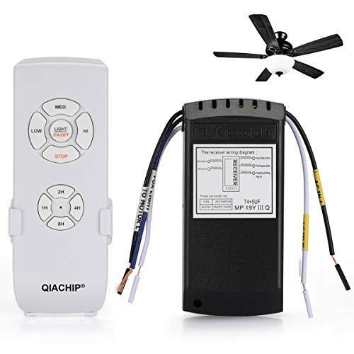 QIACHIP Deckenventilator Fernbedienung Universal-Deckenventilator Licht Lampe Timing Wireless Remote Control Kit für Decken Ventilator Deckenventilator Raum Kühler Lüfter Lampe und Leuchtmittel 220V