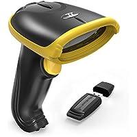 TaoTronics 2-in-1 2.4GHz Kabelloser & Kabelgebundener Barcode Scanner USB Bar Code Scanner mit 32 Bit Prozessor, Tragbarer Kabelloser Empfänger, Interner 700mAh Akku