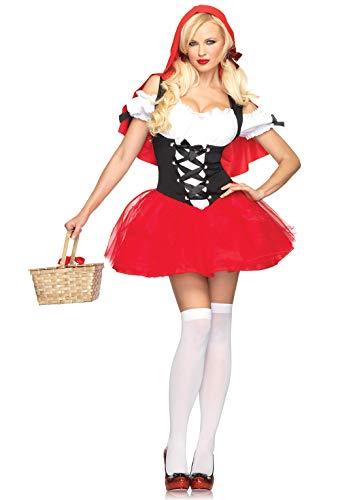 LEG AVENUE 83615 - Rotkäppchen Kleid Mit Angenähtem Kapuzenumhang Kostüm Damen Karneval, XS (EUR 32) (Mittwoch Für Erwachsene Kostüm)