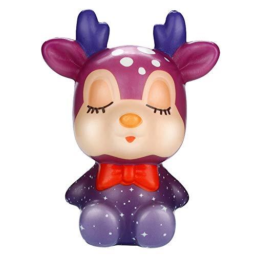 TAOtTAO Christmas Elch Christmas Hirsch Dekompressionsspielzeug Langsam Rebound PU Toy Squishies Kawaii Christmas Deer Langsam aufsteigende Creme duftende Stressabbau-Spielzeug (B)