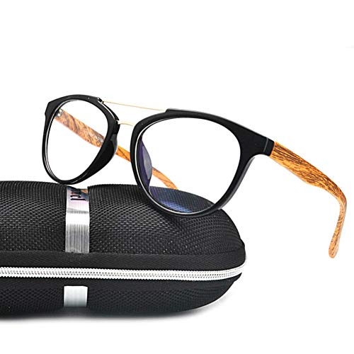GBST New Progressive multifocal Reading Glasses Big Box Double Beam Wood Grain Men and Women Myopia Anti-Blue Glasses,A3