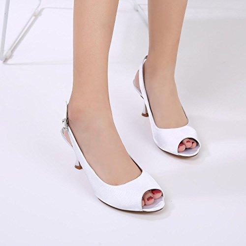 L@YC Mariage des Femmes T17061-17 Ivoire Satin Peep Toe Bridal Demoiselle D'Honneur Jane Style Chaussures à Talons Bas 3-8 red