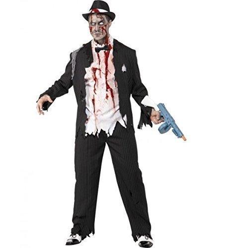 Herren schwarz oder weiß 1920er jahre Leiche Toter Zombie Gangster Halloween Kostüm Kleid Outfit - Schwarz, L