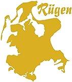 Samunshi Wandtattoo Insel Rügen Wandaufkleber in 7 Größen und 25 Farben (25x30cm goldmetalleffekt)