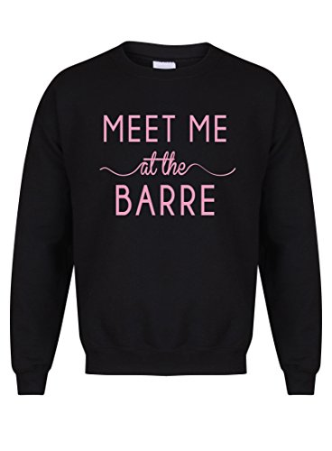 Kelham Print Unisex Slogan Sweater Jumper - Meet Me at The Barre - Black - Small with Pink
