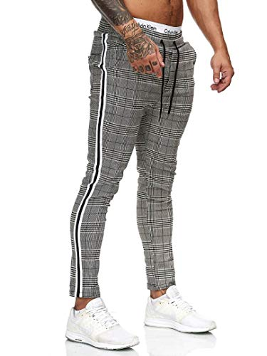 OneRedox Herren Jogginghose Trainingshose Sport Fitness Gym Training Slim Fit Sweatpants Streifen Jogging-Hose Stripe Pants Modell uni100 Schwarz Weiss XL -