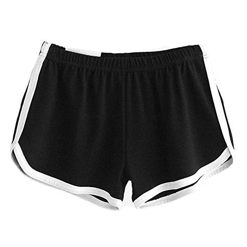 Eleery Shorts Femmes Pantalons Courts de Bain Gym Fitness Yoga Jogging Course Sport Casual Sexy Lâche Elastique Classique Noir