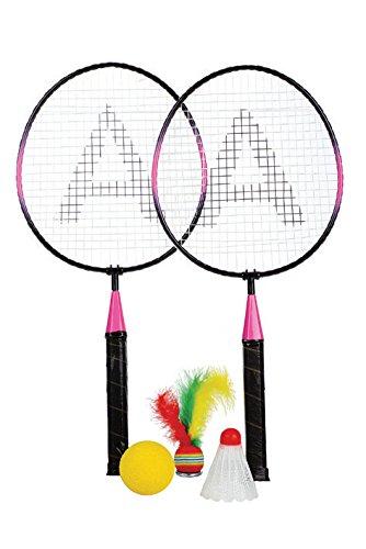 Haberkorn Mini Badminton Set 2 Stk Federball Schläger 3 verschieden Bälle
