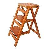 LXF Stehleitern Klappbarer 3-Stufen-Hocker, Holztrittleiter für Erwachsene/Kinder, breite Pedal Safety Utility Ladder für die Küche (Farbe : Honey color)