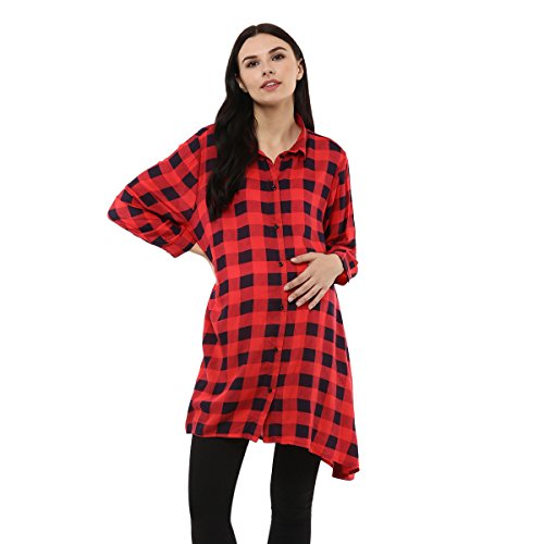 Wobbly Walk Women's Full Sleeves, Checkered Print, Maternity Shirt, Red