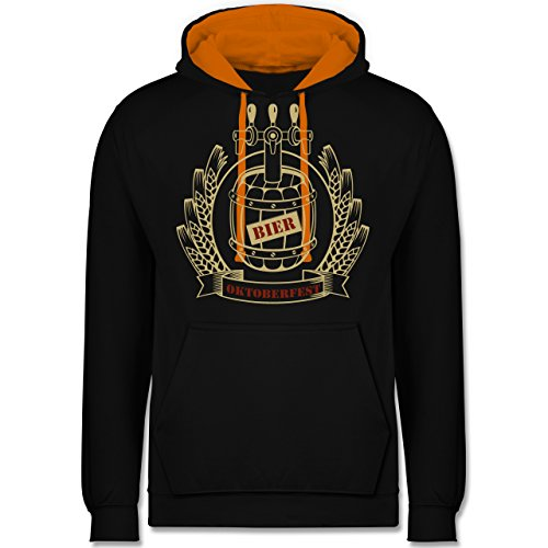 Oktoberfest Damen - Bierfass Ähren - XL - Schwarz/Orange - JH003 - Kontrast Hoodie (Orange Barrel Kostüm)