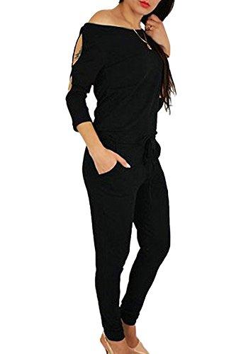 Minetom Damen Lässig Langarm Trägerlos Hosenanzug Jumpsuit Elegant Einfarbig Overall Playuit Spielanzug Lange Hose Schwarz DE 42