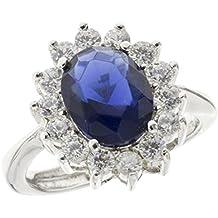 Anello in argento Sterling 925 Lady D Principessa Diana Kate Middleton con zircone ovale color zaffiro donna