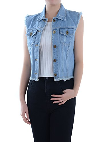 Anna-Kaci Damen Blau Denim Distressed Ausgefranst Button Up ärmellos Jeans Jacke Weste, XL, Blau Ärmellose Denim-jacke