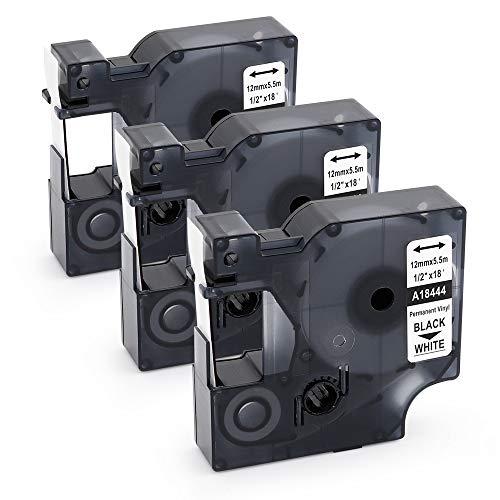 3x kompatibel Dymo 18444 Rhino 12mm x 5.5m Industrie Vinyletiketten für Dymo Rhino 1000 3000 4200 5200 6000 Label Manager-Drucker, schwarz auf weiß