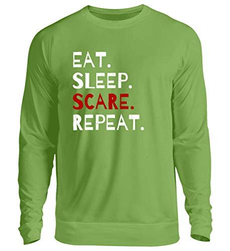 Shirtee Eat Sleep Scare Repeat - Diabolischer Spaß am Erschrecken und Fürchten zu Halloween - Unisex Pullover