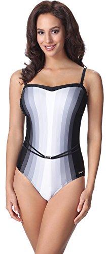 aQuarilla Damen Badeanzug AQ109(Schwarz/Grau, 46) (Badeanzug Weibliche Plus Size Kostüme)