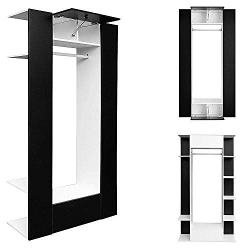 Melko® 12 Fächer Dielenschrank / Wandschrank / Kleiderschrank, Weiß / Schwarz , ca. 106 x 192 x 36 cm (B x H x T)