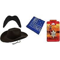 Sheriff 4 pezzi da Cowboy wild west Costume rodeo accessory Stetson-kit cappello, motivo: baffi, colore: nero, Blu, bandana e stemma da sceriffo