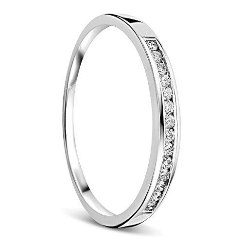 Orovi Damen-Ring Memoire HochzeitsringWeißgold 18 Karat (750) Brillianten 0.10 carat Verlobungsring Diamantring (Diamant-herz-ring Lila)