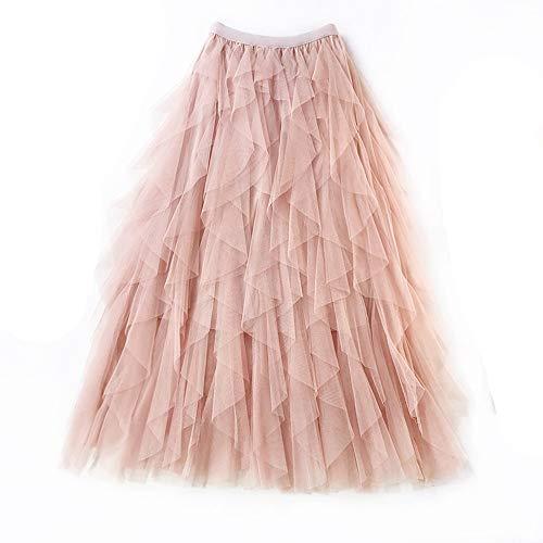Gonna di Pizzo da Donna A-Line Layered Princess Lotus Leaf Stitching Layered Layered Tulle Midi Gonna Casual Fashion Maxi Skirt (Color : Rosa)