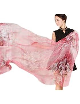 Efudfj Señoras Colorido Bufanda De Lujo Sencilla Hogar Suave Piel Transpirable Transpiración Fácil De Fade Bufanda...