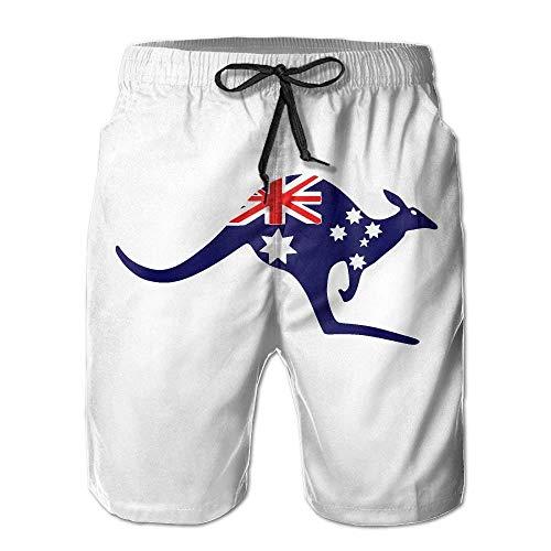 ZQHRS Strand Yoga Hosen, Australische Flagge Kangaroo White Beach Lounge Shorts für Männer Jungen, Outdoor Short Pants Beach Zubehör Größe XXL -