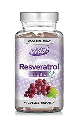 "Resveratrol Original | Maximum safe dosage of Trans-Resveratrol | Vegetarian | 60 Capsules by ""Vida! Supplements"""
