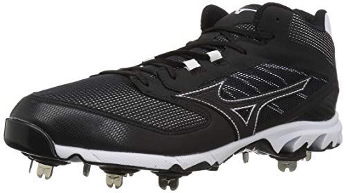 Mizuno Men's 9-Spike Dominant IC Mid Metal Baseball Cleat Shoe, Black/White, 12.5 D US