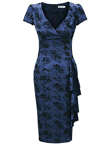 MUXXN Jupe fourreau emme,elegante,imprimee,de style classique, avec les manches courtes et de forme elancee New Navy Blue
