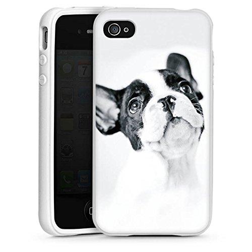 DeinDesign Silikon Hülle kompatibel mit Apple iPhone 4s Case Schutzhülle Hund Bulldogge Dog (Silikon Hund Iphone Hülle 4s)