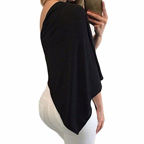 QIYUN.Z Femmes Sexy Une Epaule Col Oblique Irreguliere En Tete Tunique Blouse Chemise A Lacets Noir