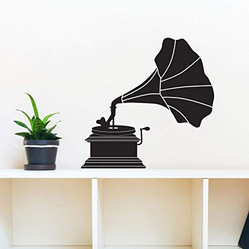 Classy Vintage Roller Player Victrola Silhouette- Wall Decal Custom Vinyl Art Stickers Wall Mural For Living Room 43X42cm