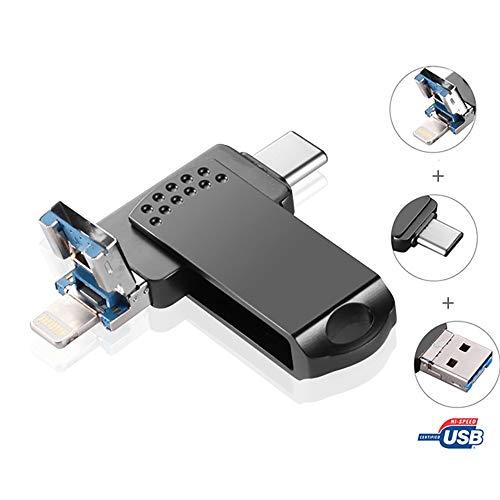 ZYLFN USB-Flash-Laufwerk, 256 GB Speicherstick USB-Stick 3.0 Jump Drive Android Photo Stick 3in1 Auf iPhone-Geräte, Computer und USB-C-Geräte vom Typ C anwenden,256GB -