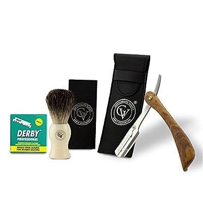 Shaving Kit - professional straight edge cut throat razor wooden handle - Ivory pure badger shaving brush - Includes 100 single edge derby razors by Gentlemans Vanity