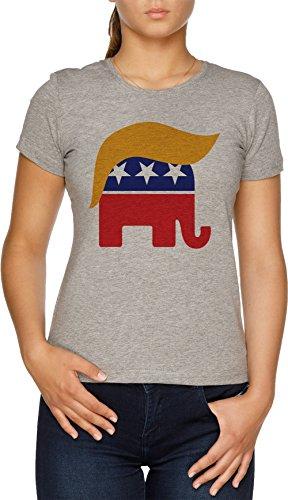 Vendax Donald Trumpf Haar GOP Elefant Logo В TrumpCentralorg Damen T-Shirt Grau (Gop-elefant)