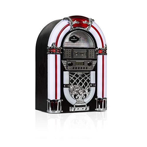 auna Arizona Jukebox • Retro-Stereoanlage • 50er Jahre Musikbox • Bluetooth • UKW/FM-Radio • 2 x 2 Watt RMS • LED-Beleuchtung • USB-Port • SD-Slot • MP3-fähiger CD-Player • Eichenholz • schwarz