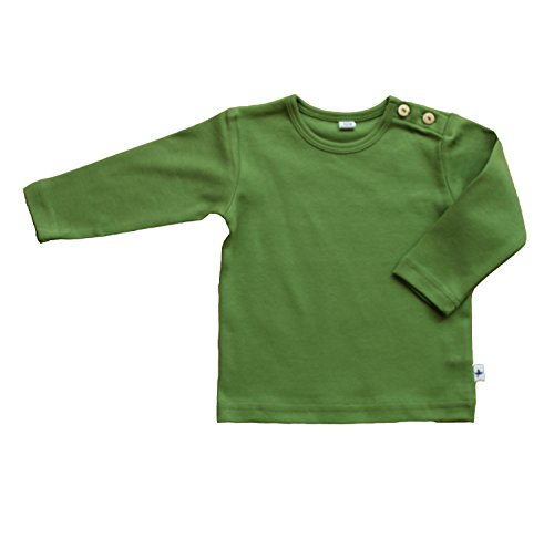 Baby Kinder Langarmshirt Bio-Baumwolle GOTS 13 Farben T-Shirt Shirt Jungen Mädchen Gr. 50/56 bis 140 (86-92, grün)