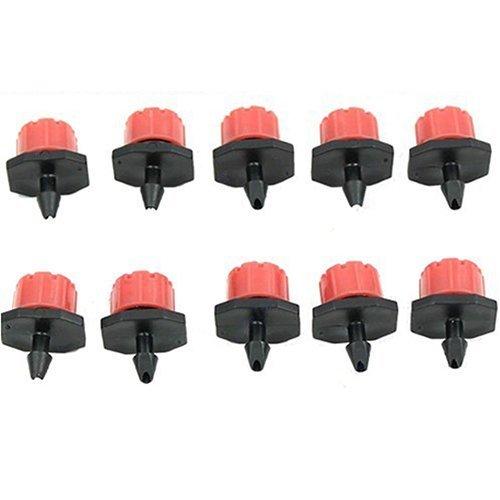 Bodhi2000 10 pcs Micro arroseurs d'irrigation réglable émetteurs Piquet Eau Goutteur Tuyau 1/10,2 cm, PP, Red, Lot de 10