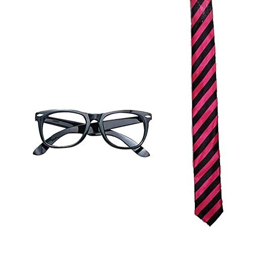 Fancy Girl Kostüm Dress Geek - Blue Planet Online - Geek Nerd Glasses & Neck Tie Fancy Dress School Boy Girl (Black/Pink Striped) by Blue Planet Online