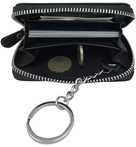 Premium 3in1 Echt Leder Geldbörse Schlüsseletui Kredit-Karten-Etui Schlüssel-Mäppchen-Tasche-Anhänger RFID Schutz klein Mini Portmonee Portemonnaie Brieftasche rundum Reißverschluss schwarz