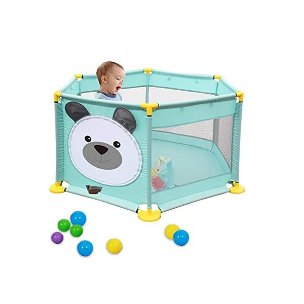 Baby Playpen Activity Centre Children Safety Fence Play Yard Game Playpen Fence for Home Indoor Outdoor Playing Per Material: ABS corner PVC connector Oxford cloth Mesh Size: height 65cm/25.59inch, length 142cm/55.9inch Age: 5 months to 3 years old 4