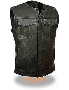 Los hombres de la motocicleta hijo de la anarquía negro pistola de piel chaleco 2bolsillos, diseño nuevo Regular...