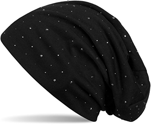 styleBREAKER Klassische Beanie Mütze mit Edler Strass-Nieten Applikation, Unisex 04024037, Farbe:Schwarz