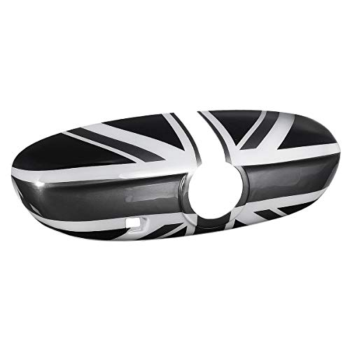 JenNiFer Car Inner Rear View Mirror Cover Shell Uk Flag Für BMW Mini Cooper F55 F56 F60 High-End-Version-Black + Grey