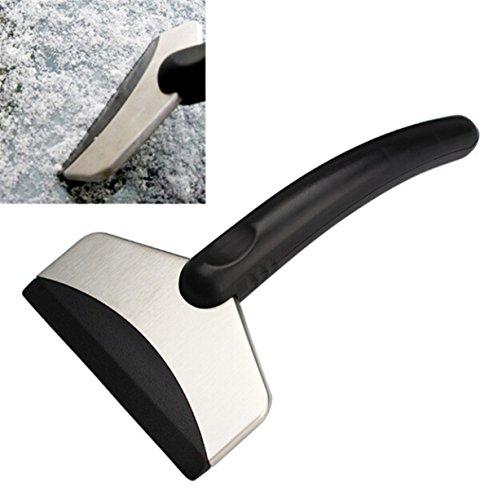 Eiskratzer,Mini Auto Eisschaber Schneeschaufel Reinigungswerkzeuge Notfall Eiskratzer Plastik + Edelstahl Schwarz