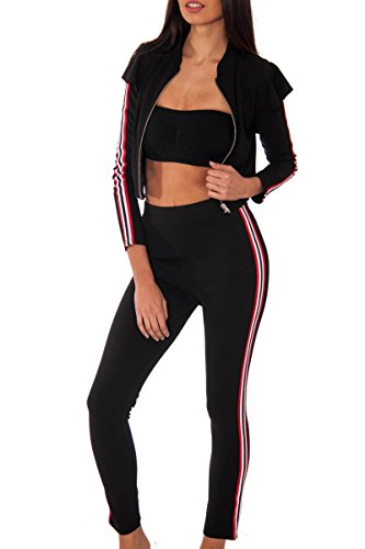 RE TECH UK donna a righe fronzoli spalla ABBIGLIAMENTO comodo set Zip Maglia Pantaloni 2 pezzi taglie: 8-14 Nero
