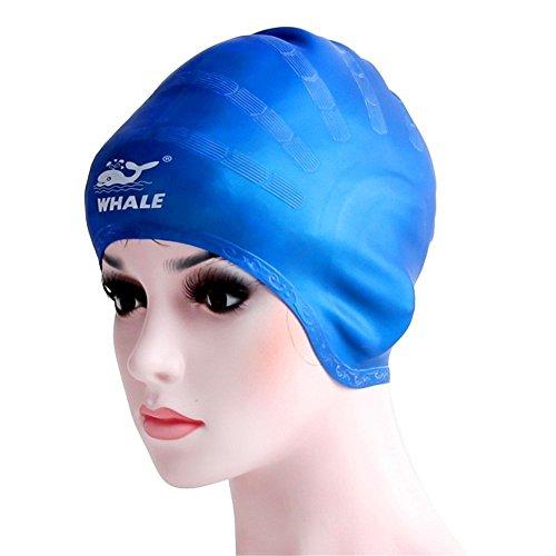 GZLMMY Cover Ohren Badekappe für Erwachsene Damen Herren Mädchen Jugend Lange Haar, Flexibel und Wasserdicht, 100% Silikon Atmungsaktiv Badekappe Macht Ihr Haar Reinigen, Blau