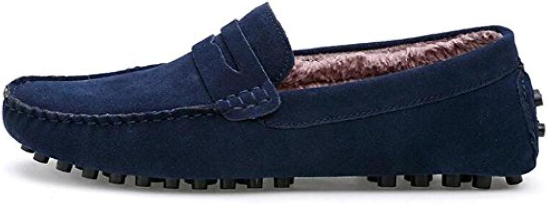 Männer Schuhe Wildleder Casual Loafers Soft Sole Kunstpelz Futter Größe 38 To 44